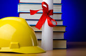 Concept of industrial education with hard hat — Stock Photo