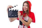 Young girl in red hood — Stock Photo