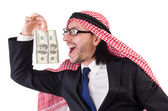 Arab businessman in with dollar — Stock fotografie