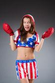 穿制服的女拳击手 — 图库照片