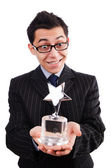Funny guy receiving award — Stock Photo