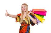 ショッピングの後の女性 — ストック写真