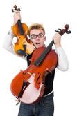 Funny man with violin — Stock Photo