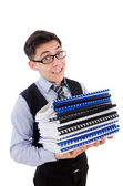 Funny man with folders — Stock Photo