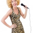 Funny singer woman — Stock Photo
