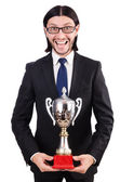 Businessman awarded with prize cup — Stock Photo