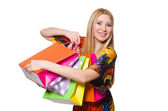 Donna dopo lo shopping — Foto Stock