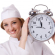 Woman doctor with big clock — Stock Photo #44949273
