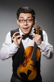 Funny violin player — Stock Photo
