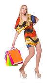 Kobieta po zakupy — Zdjęcie stockowe