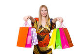 Woman after shopping — Stock Photo