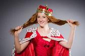 Queen in red dress — Stock Photo