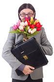Muž s květinami — Stock fotografie