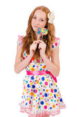 Girl with lolipops — Stock Photo