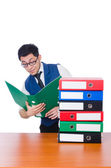 Man with lots of folders — Stockfoto