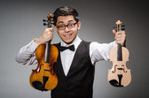 Violin player with fiddle — Stock Photo