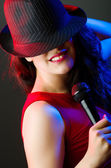 Female performer at disco — Stock Photo