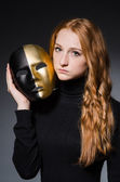 Redhead woman iwith mask — Stock Photo
