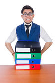 Man with lots of folders — Stock Photo