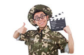 Grappige soldaat met film board — Stockfoto