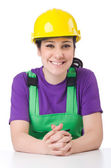 Woman in green coveralls — Stock Photo