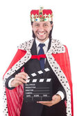 King businessman with movie board — Stock Photo