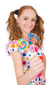 Redhead young girl with lolipops — Stock Photo