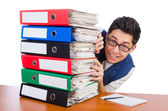 Man with lots of folders — Foto de Stock