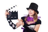 Frau mit film board — Stockfoto