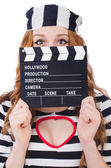 Woman-prisoner with movie board — Stock Photo