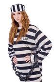 Vězeň v pruhovaných uniformách — Stock fotografie
