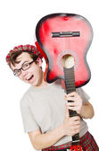 Scotsman playing guitar — Stock Photo