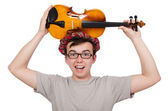 Funny scotsman with violin — Stock fotografie