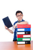 Man with lots of folders — Foto Stock