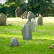 Cemetery with many tombstones on the bright day — Stock Photo #4620416