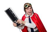 Funny hero with keyboard — Stock Photo