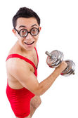 Funny guy with dumbbels — Stockfoto