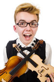 Funny man with violin — Foto de Stock