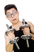 Man with dumbbells — Stockfoto