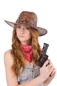 Woman gangster with gun — Stockfoto