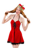 Redhead girl with crown — Stockfoto