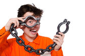 Young inmate with chains — Stockfoto