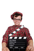 Scotsman with movie board — Stock Photo