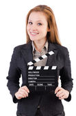 Woman with movie board — Stock Photo