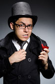 Detective with pipe — Stock Photo