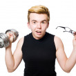 Постер, плакат: Man with dumbbells