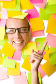 Woman with lots of reminders — Stock Photo