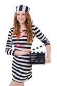 Woman-prisoner with movie board — Stock Photo