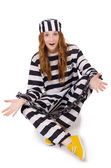 Prisoner in striped uniform — Stock Photo
