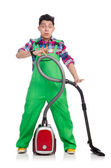 Funny man in green coveralls — Stock Photo